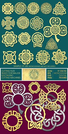 17 Celtic Knot Ditigal Monogram Frames  SVG eps DXF by ScrapCobra