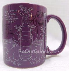 Disney Parks Epcot Center Figment Purple Dragon Ceramic Coffee Mug Cup New