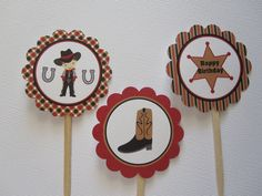 12 Cowboy Cupcake Toppers. $6.00, via Etsy.