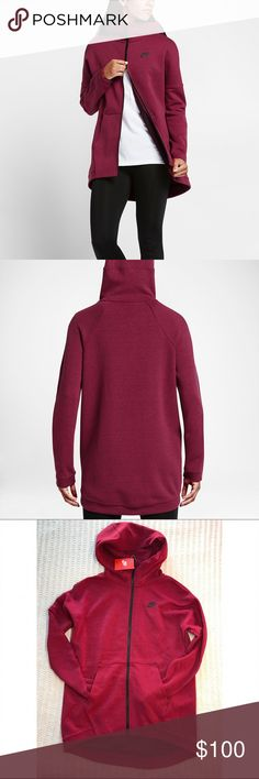 Nike Noble Red Tech Fleece Cape Hoodie •Designed to envelop you in lightweight warmth, the Nike Tech Fleece Women's Cape is an essential layer for cool weather. Nike Tech Fleece is warm, soft and light. Oversized hood, dropped shoulders and longer back provide a relaxed fit.  67% cotton/33% polyester. Hood Lining: 100% cotton. Color is Noble Red.  •Size Small, for a slimmer fit please size down.  •New with tag.  •NO TRADES/HOLDS/PAYPAL/MERC/VINTED/NONSENSE. Nike Tops Sweatshirts & Hoodies