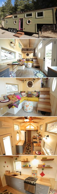 From Colorado-based SimBLISSity Tiny Homes is the Valhalla, a 35-foot gooseneck tiny home with nautical theme.