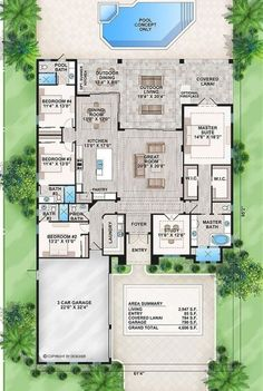 Home Plan: 009-2947 | 2947 heated square feet | 4 bed | 5 bath | 61.33 ft width | 95.17 ft depth | 27.92 ft height Florida House Plans, New House Plans, Dream House Plans, Florida Home, House Floor Plans, The Plan, How To Plan, Br House, Story House