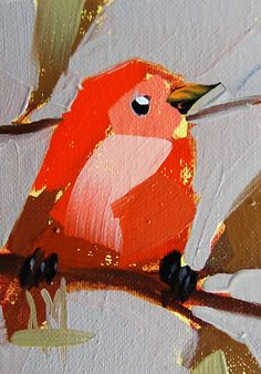 Summer Tanager no. 16 original bird oil painting by Angela Moulton #Impressionism