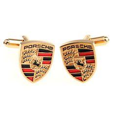 Gold Porsche Automotive Car Logo Cufflinks #goldcufflinks #Porsche #carcufflinks #cufflinks