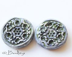 Rustic Polymer Clay Beads, Charms in Blue, Green, White, Boho, Primitive, Bead Set of 2