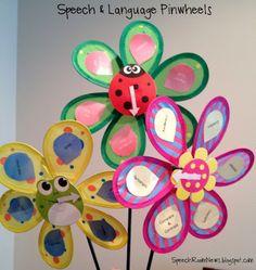 Speech n Language Pinwheels: Grammar pinwheel, language pinwheel, and articulation pinwheel activity