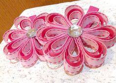Girls Hair Bows Flower Clip Set of 2 Small by SpoiledLittleDiva, $5.00