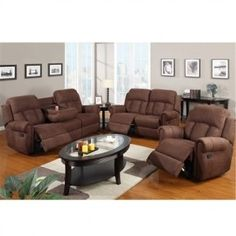 Rocker Recliner & Motion Sofa 3 PC Set with Center Console Chocolate
