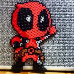 Chibi Deadpool perler beads by amongotherstuff