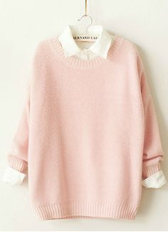 Cute pastel pink sweater with the white collared shirt underneath.