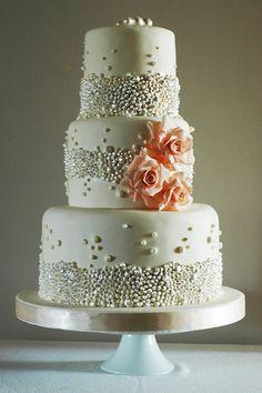 Pearl Coated Wedding Cake