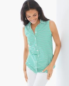 """An everyday essential: the striped, cotton, button-up shirt. A sleeveless silhouette to style on its own or as an open top layer.   Effortless shirts have been engineered to give an always-pristine, wrinkle-free appearance.  Regular front length: 28.5"""", back length: 30"""".  Petite front length: 27.5"""", back length: 29.5"""".  100% cotton.  Machine wash. Imported."""
