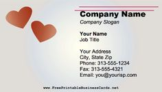 Two Hearts Business Card Company Slogans, Company Names, Printable Business Cards, Two Hearts, Job Title, Wedding Planning, Teen, Printables, Romantic