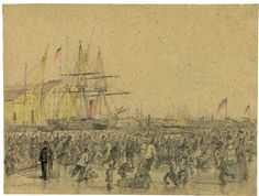 Winter 1856, Delaware River at Philadelphia, graphite and color drawing by James Queen