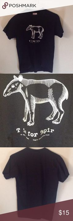 Boys black tapir tee shirt size L 14-16 Son was in love with tapirs and started raising money to save them.  Bought this tee shirt to wear too.  Boys size large.  Excellent condition.  Says T is for Tapir.  Save the tapirs! Hanes Shirts & Tops Tees - Short Sleeve