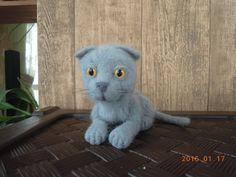 Вислоухий котенок, игрушка ручной работы, фелтинг