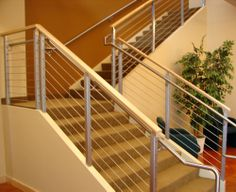 Contemporary Interior STAIR Railings | Oak & Stainless Steel ... on