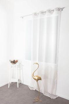 RideauDiscount Voilage Chambre Enfant Filles 140 cm x 280 cm Grande Hauteur /à Oeillets /à Motif Imprim/é Papillons Blanc Rose Violet