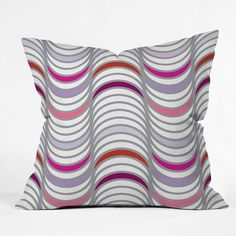 Deny Designs Karen Harris Candy Tidal Wave Decorative Pillow ($40) ❤ liked on Polyvore featuring home, home decor, throw pillows, white, patterned throw pillows, white home decor, striped throw pillows, white toss pillows and deny designs throw pillows