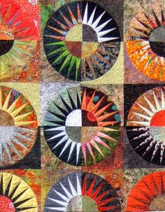 Textile Art by Ingrid EllisExquisite and quirky textile art: stitched textiles, collages, wall quilts, paintings and photographs. New York Beauty, Paper Piecing, Textile Art, Garden Art, Collages, Mixed Media, Pottery, Textiles, Kids Rugs