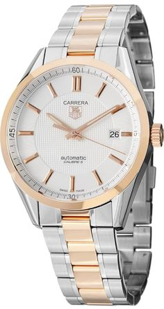 Men Watches : Tag Heuer Carrera Caliber 5 Men's Stainless Steel Rose Gold Automatic Watch WV215E.BD0735