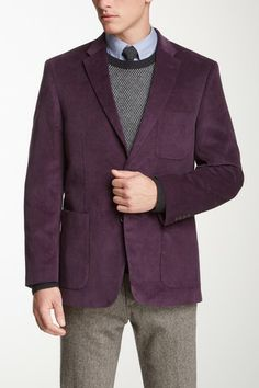 Tommy Hilfiger Purple Corduroy Two Button Notch Lapel Jacket by Non Specific on @HauteLook