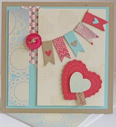 Retro A Flutter-Hearts A Flutter & Tiny Tags stamp sets; Crumb Cake, Pool Party, Very Vanilla & Primrose Petals CS; More Amore DSP; Hearts A Flutter & Bitty Banners framelits; Owl Builder & Jewelry Tag punches; Linen thread; Subtles button collection