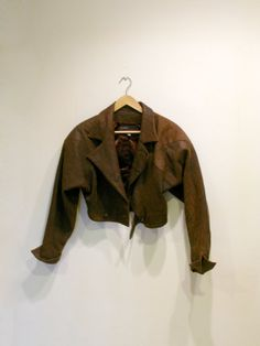 Vintage Brown Cropped Leather Jacket / 1980s Leather Jacket