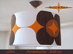 Loungeleuchte LORA Ø 60 cm, Pendellampe mit Diffusor und Baldachin in Retrodesign. Ein klasse Klassiker - 70er in Reinkultur - Leuchte im Pantonstil