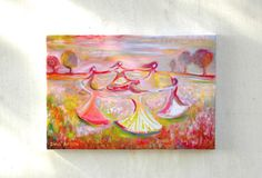 Title: Dancing women circle - THIS IS A CANVAS PRINT  A unique gift for girl or woman - Dancing women in circle, a high quality canvas print,