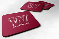 Set of 4 Monogram - Maroon and White Foam Coasters Initial Letter W