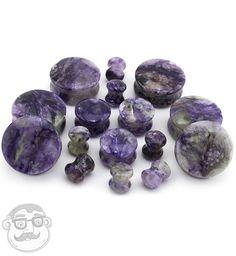 Charoite Stone Plugs (00 Gauge - 1 Inch) | UrbanBodyJewelry.com