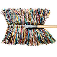 "Wool Dry Mop - Colorful genuine wool dust mop with 48"" handle. Draws dust like a magnet and releases it with a shake. Swivel connector makes walls, floors, and furniture easy to access. Recycled poplar handle. Made by a fourth-generation family business in Vermont."