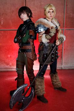 hiccup and astrid by Call-Loonight on DeviantArt Astrid Costume, Astrid Cosplay, Epic Cosplay, Disney Cosplay, Cosplay Costumes, Cosplay Ideas, Halloween 2014, Halloween Costumes, Halloween Ideas