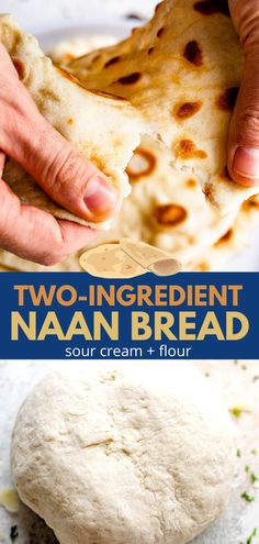 Fast and DELICIOUS, this Two Ingredient Naan Bread is sure to be your new favorite side! Made with just self-rising flour and sour cream, its rich flavor and chewy texture make it a wonderful addition to just about any meal. #naan #pitabread Easy Naan Recipe, Recipes With Naan Bread, Easy Homemade Recipes, Delicious Recipes, Yummy Food, Entree Recipes, Indian Food Recipes, Healthy Foods, Healthy Eating