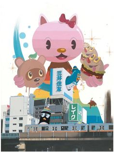 #HelloKitty limited edition print with urban Japanese cityscape
