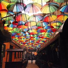 Saving these for a rainy day or when you forget your umbrella (ella ella eh) at home. Umbrella Street, Umbrella Art, Photo Background Images, Photo Backgrounds, Coat Of Many Colors, Design Seeds, European Destination, Colorful Pictures, Travel Around The World