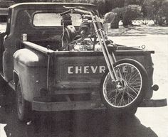 Pick up truck, oldie, cool wheels, mc, bike, old photography, black and white, vintage, hot scenario