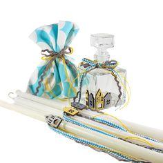 Greek Orthodox Oil Set for Baby Boy. Set of Three Candles, Oil Bottle and Soap. Gifts For Newborn Boy, Baby Boy Baptism, Godchild, Oil Bottle, Boy Blue, Christening, Perfume Bottles, Greek, Soap