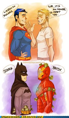 Superman and Captain America vs. Batman and Iron Man Yeah, Tony would likely call him something ruder than Batsy. and Batman would just ignore him, punch him . Superman and Captain America is pretty spot on though :) Marvel Vs, Marvel Dc Comics, Marvel Jokes, Funny Marvel Memes, Bd Comics, Dc Memes, Funny Batman, Batman Humor, Batman Batman