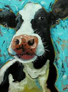 Cow painting 1060 18x24 inch animal original oil by RozArt on Etsy