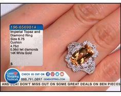 4.75 ct Imperial Topaz Cushion & 0.36 ctw Diamond 14K White Gold Ring, Size 6.75