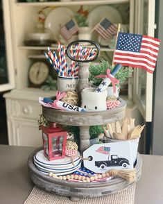 Your place to buy and sell all things handmade Excited to share this item from my shop: Patriotic Decor / Tiered tray decor / USA / Fourth of July Decor / Vintage truck sign / Farmhouse decor / Wood tags / Tag sign Fourth Of July Decor, 4th Of July Decorations, 4th Of July Party, July 4th, Tray Styling, Country Farmhouse Decor, Farmhouse Style, Farmhouse Ideas, Wood Tags
