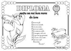 diplomă pentru cea mai buna mamă 8 Martie, Diy And Crafts, Happy Birthday, School, 1 Decembrie, Gifts, Coloring, Plant, Embroidery