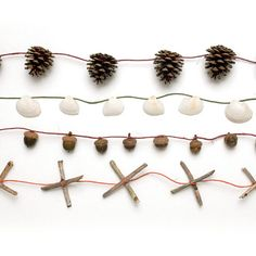 Natural Garlands - try making some with shells and things you collect from the beach!