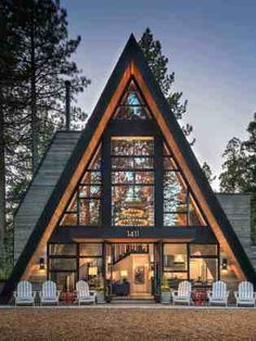 A debilitated A-frame mountain cabin was renovated by High Camp Home in collaboration with MSM Construction, located in Truckee, California. Cabins In The Woods, House In The Woods, Triangle House, A Frame House Plans, Forest House, Cabins And Cottages, Cabin Design, Cabin Homes, Exterior Design