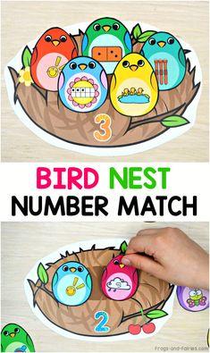 Bird Nest Number Match Printable Activity