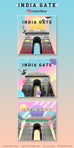 Instagram posters designed on India Gate, New Delhi. Art style inspired from Magdiel Lopez