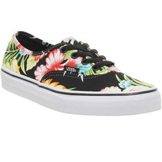 Vans Authentic (391.335 IDR) ❤ liked on Polyvore featuring shoes, sneakers, vans, trainers, hawaiian floral, unisex sports, hawaiian shoes, rubber shoes, vans trainers and floral print sneakers