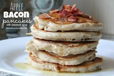 Apple Bacon Pancakes with Cinnamon Syrup (Mix and Match Mama) What's For Breakfast, Breakfast Recipes, Camping Breakfast, Morning Breakfast, Apple Recipes, Fall Recipes, Cinnamon Syrup, Pancakes And Bacon, Buttermilk Pancakes